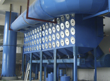 Cartridge filter equipment in sandblasting room