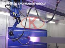 Shanghai Liangshi  designa and manufacturea robots blast sprayed zinc coating equipment for customers