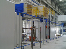 Shot blasting and oil coating line for thermal-formed parts of automobile A, B columns