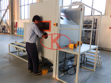 Single-gun double-station semi-automatic pressure sandblasting cabinet (with manual push and pull automatic turntable)